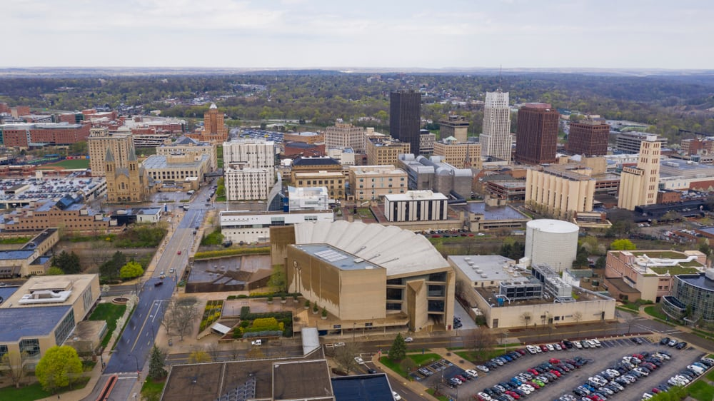 Aerial view of Downtown Akron, OH Neighborhoods