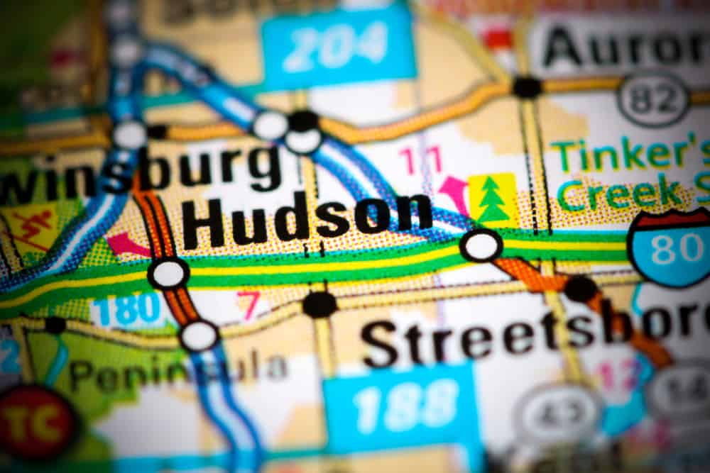 Hudson, OH on a Map