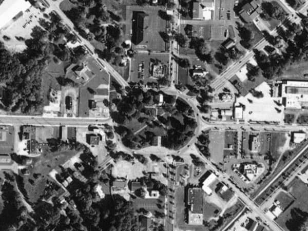 Aerial photo of the Tallmadge Circle in Tallmadge, OH